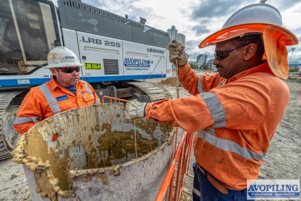 Measuring the pile depth on the Cross River Rail at Woolloongabba