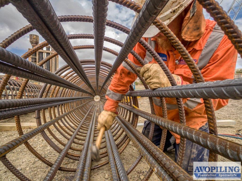 Reinforcing cages for the Woolloongabba section of the Cross River Rail, photo captured by a professional construction photographer on the Cross River Rail