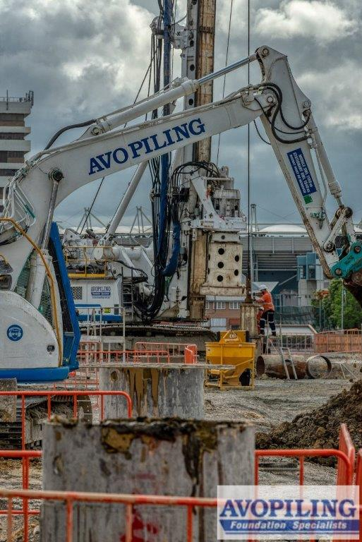 Professional photography of the piling works on the Cross River Rail.