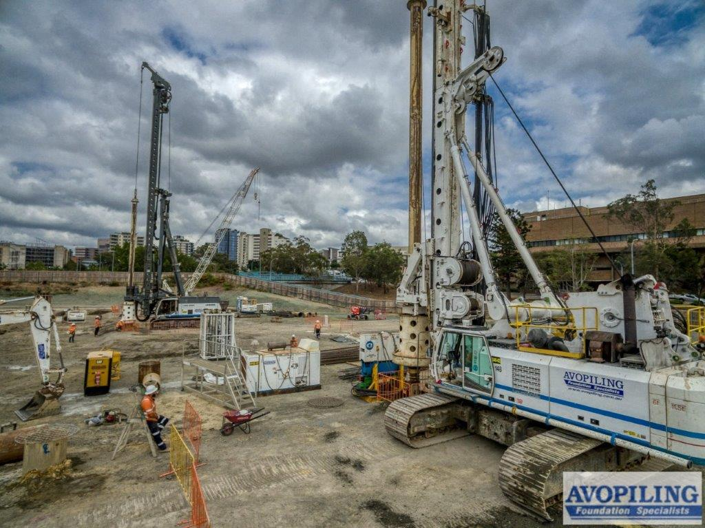 Ground works at Woollloongabba for the Cross River Rail, captured by one of the professional photographers working with Rapax Construction Photography