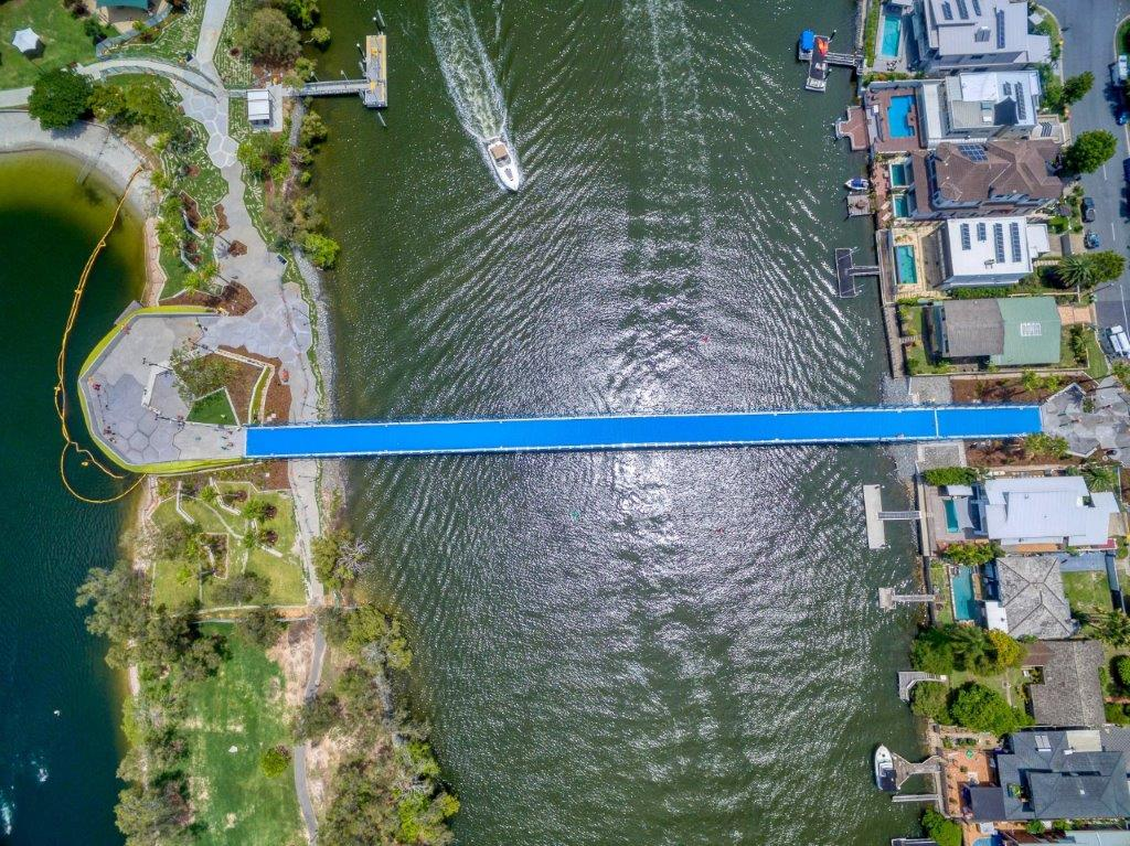 Birds eye view of the new Green Bridge located on the Gold Coast, captured with professional drones used by Rapax Construction Photography