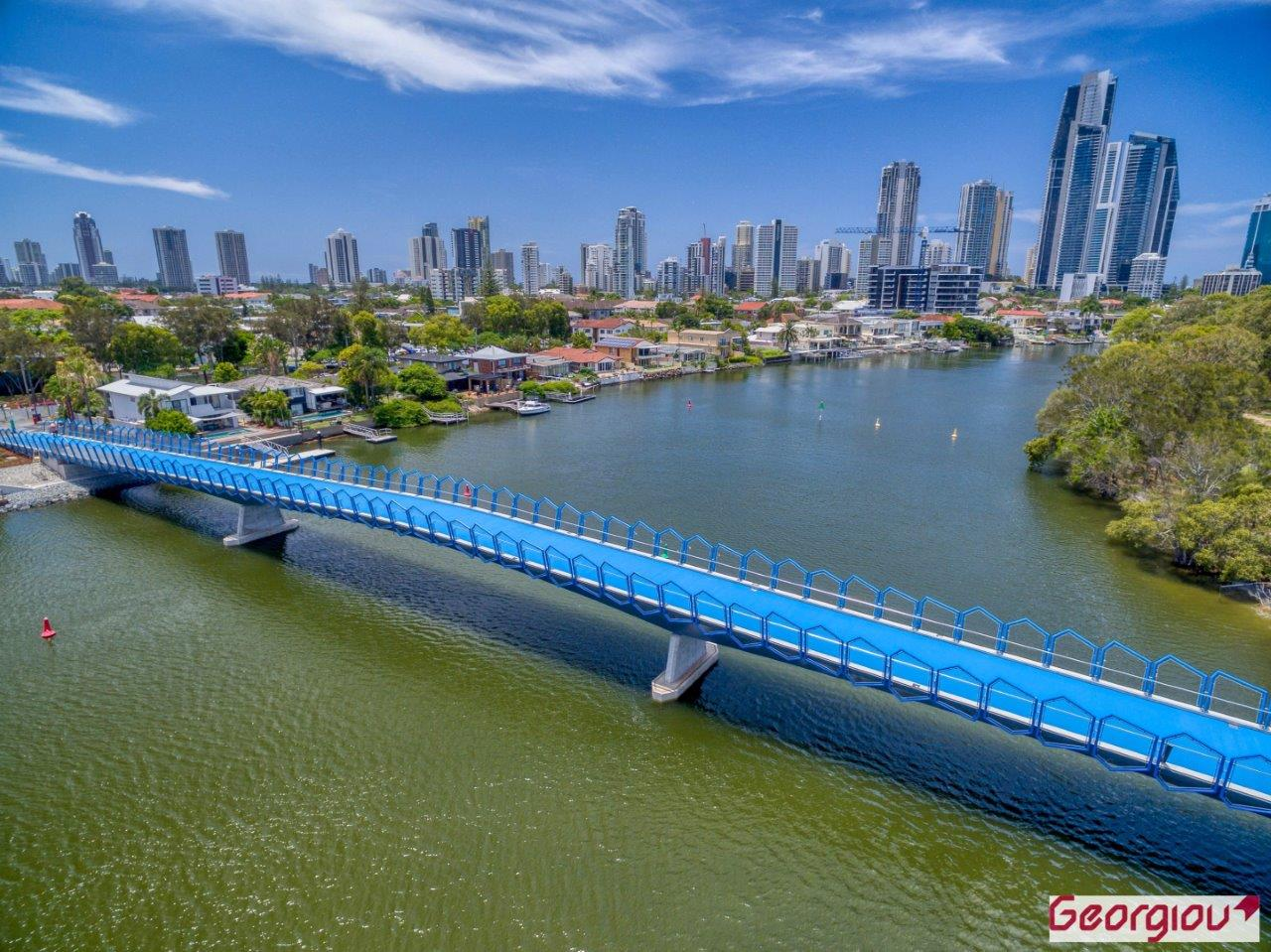Aerial view of the Green Bridge on the Gold Coast, using professional drones by Rapax Construction Photography