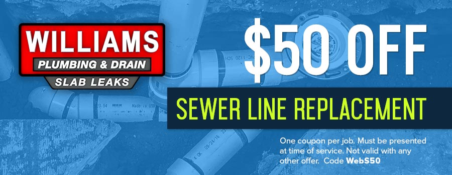 A coupon for $50.00 off sewer line replacement in Tulsa, OK