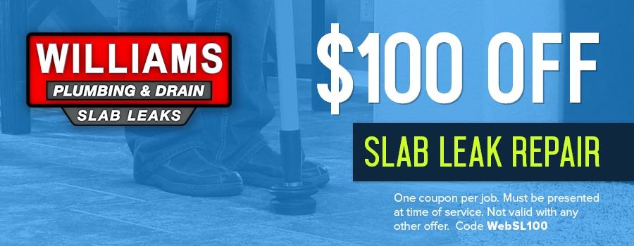 A coupon for $100.00 off slab leak repair in Tulsa, OK