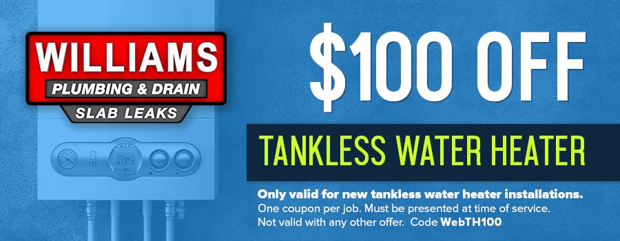 A coupon for $100.00 off tankless water heater installation in Tulsa, OK