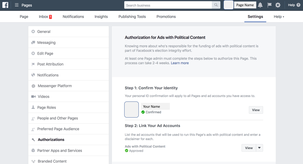 Facebook Political Ad Label Application Approved