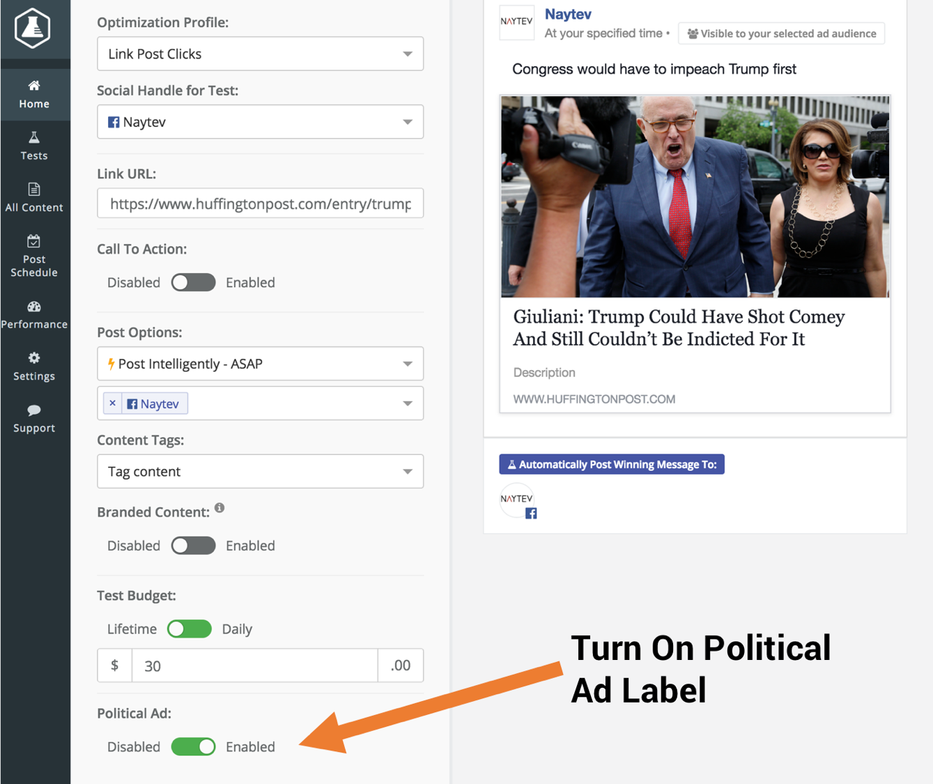Use Facebook and Instagram Political Ad Label in Naytev Test