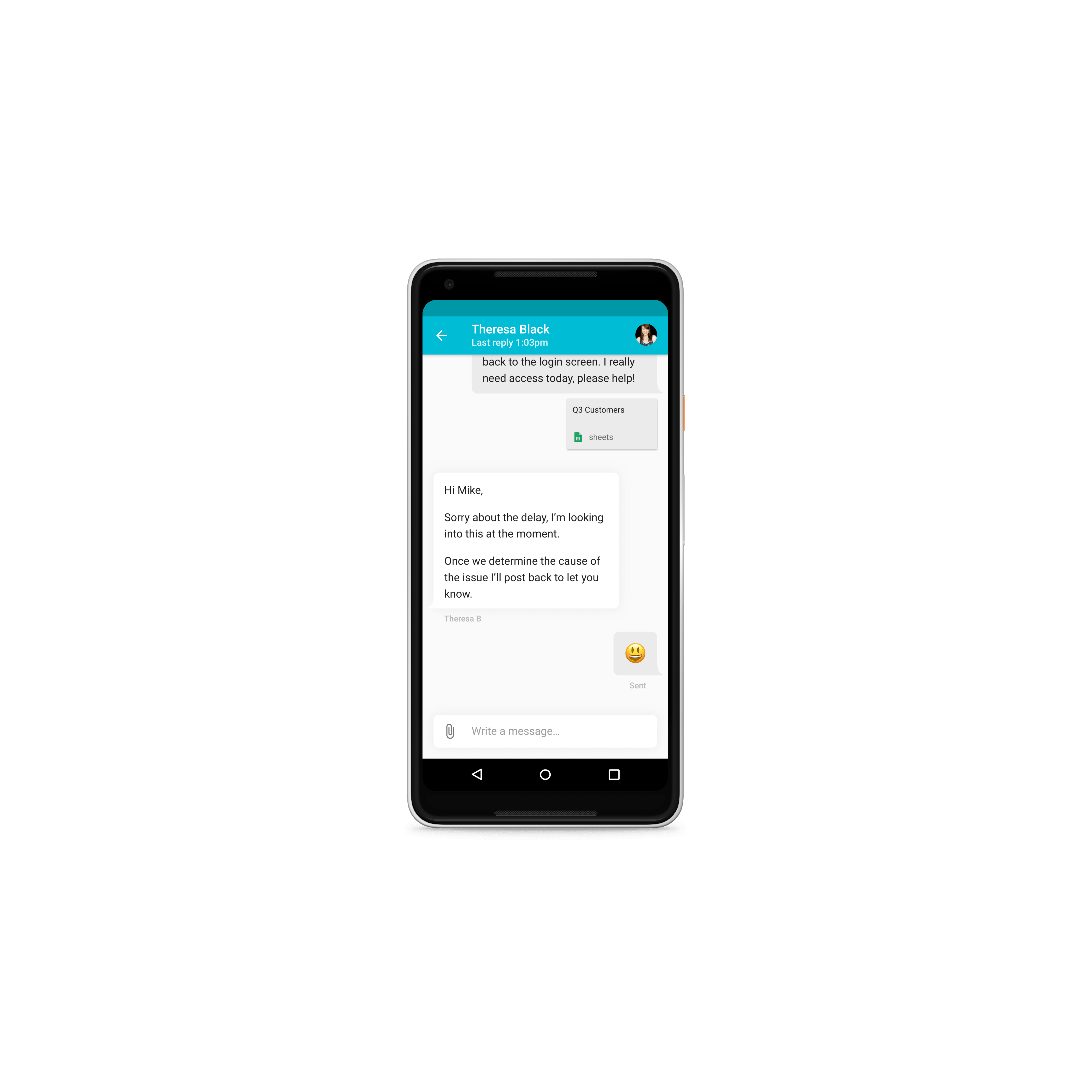 Zendesk Mobile SDK for Android. Material design conversation screen with chat user interface (ui)