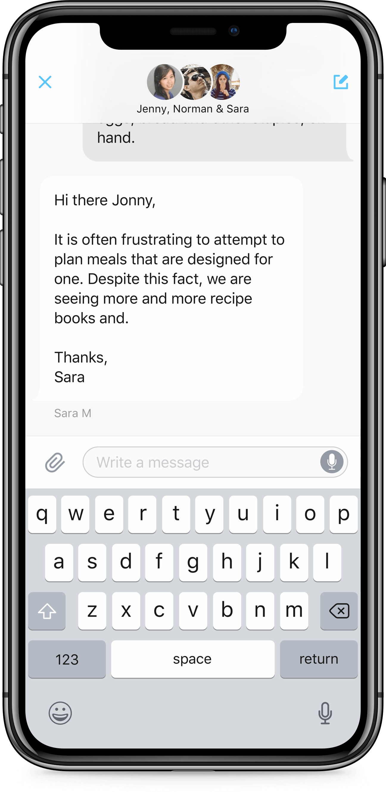 iPhone X screen of Zendesk SDK conversation