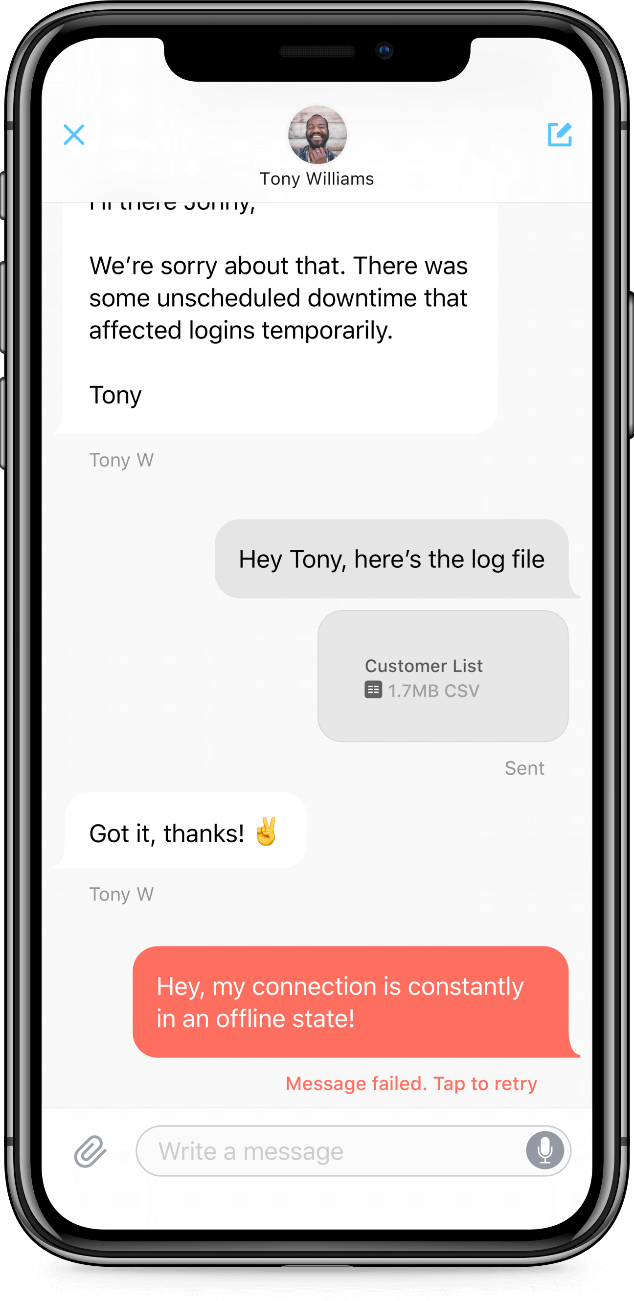 iPhone X screen of Zendesk SDK conversation with error state
