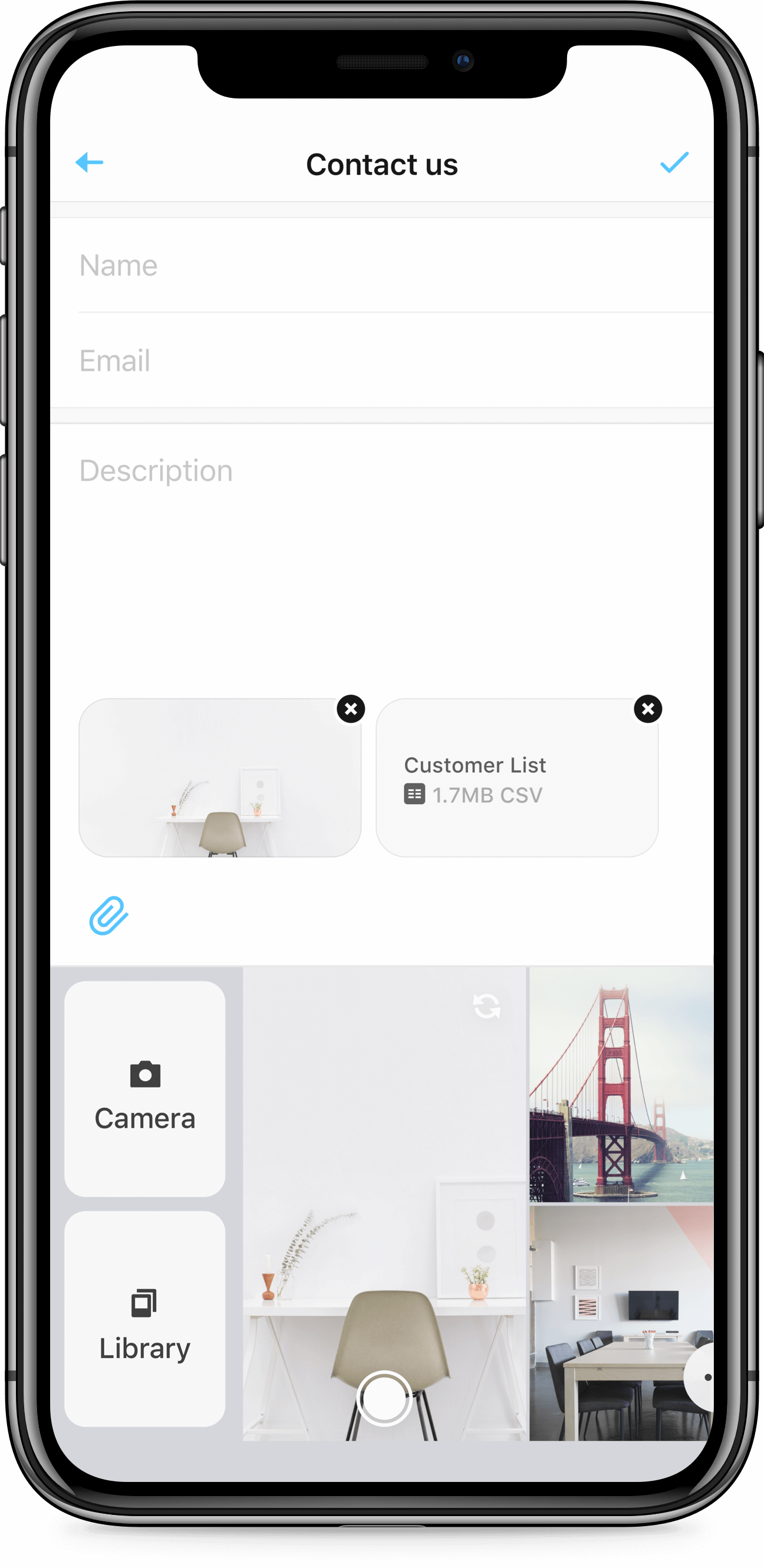 iPhone X screen of Zendesk SDK attachment picker