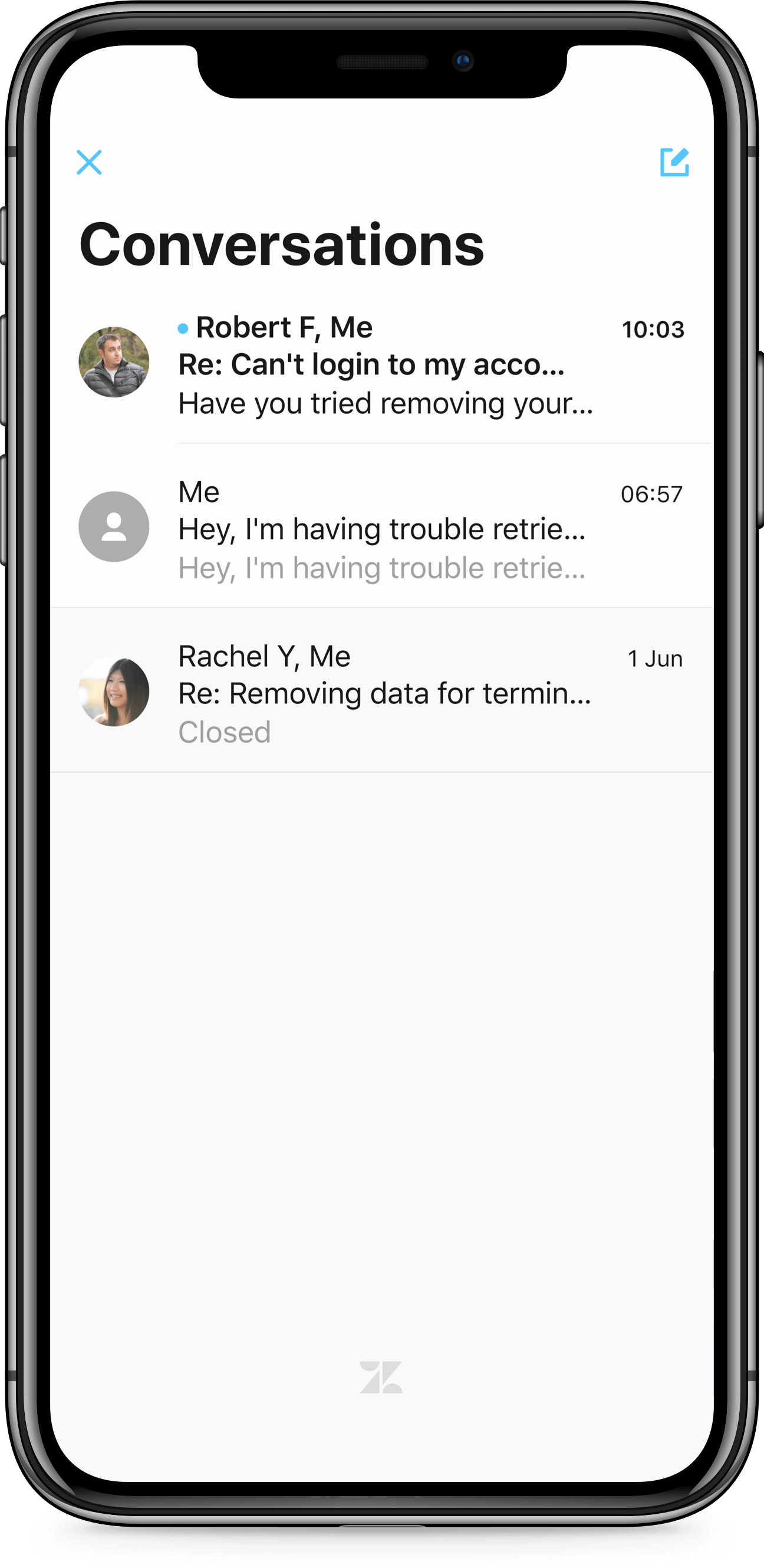 iPhone X screen of Zendesk SDK Conversations list
