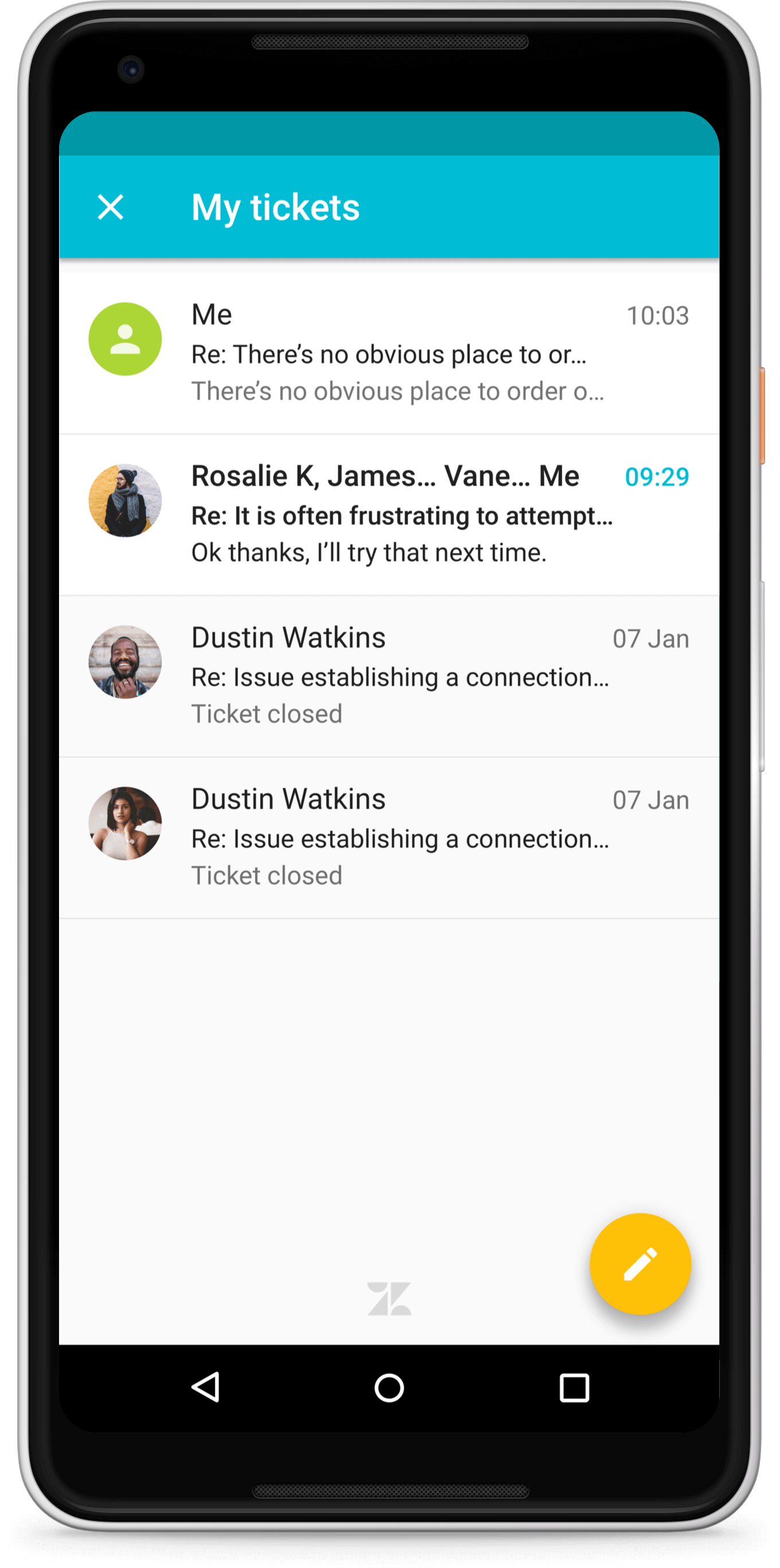 Zendesk Mobile SDK for Android. Material design open ticket list screen.