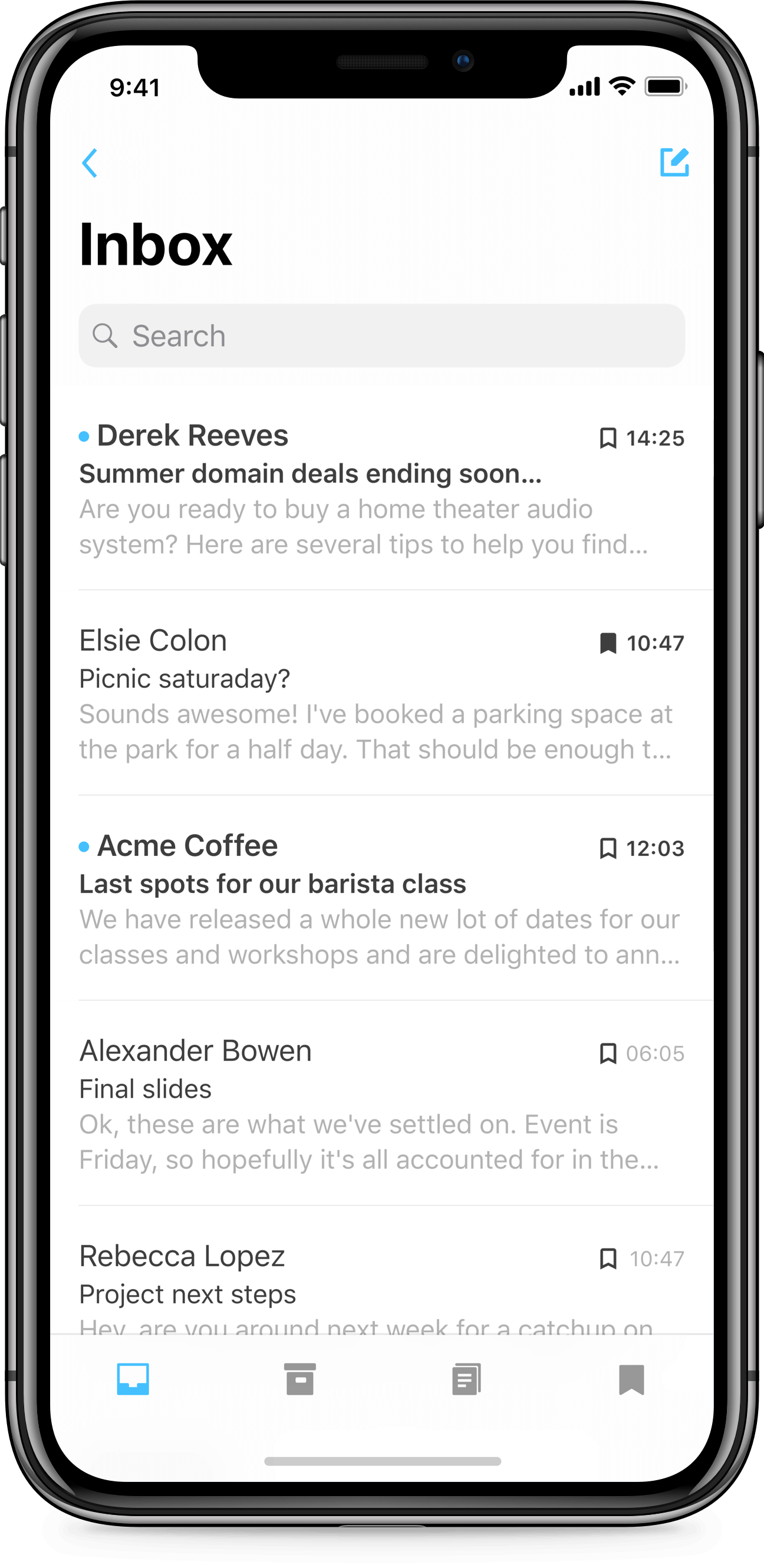 iPhone X app design of Mail Simple email client for iOS. Native inbox list of emails and tab bar.