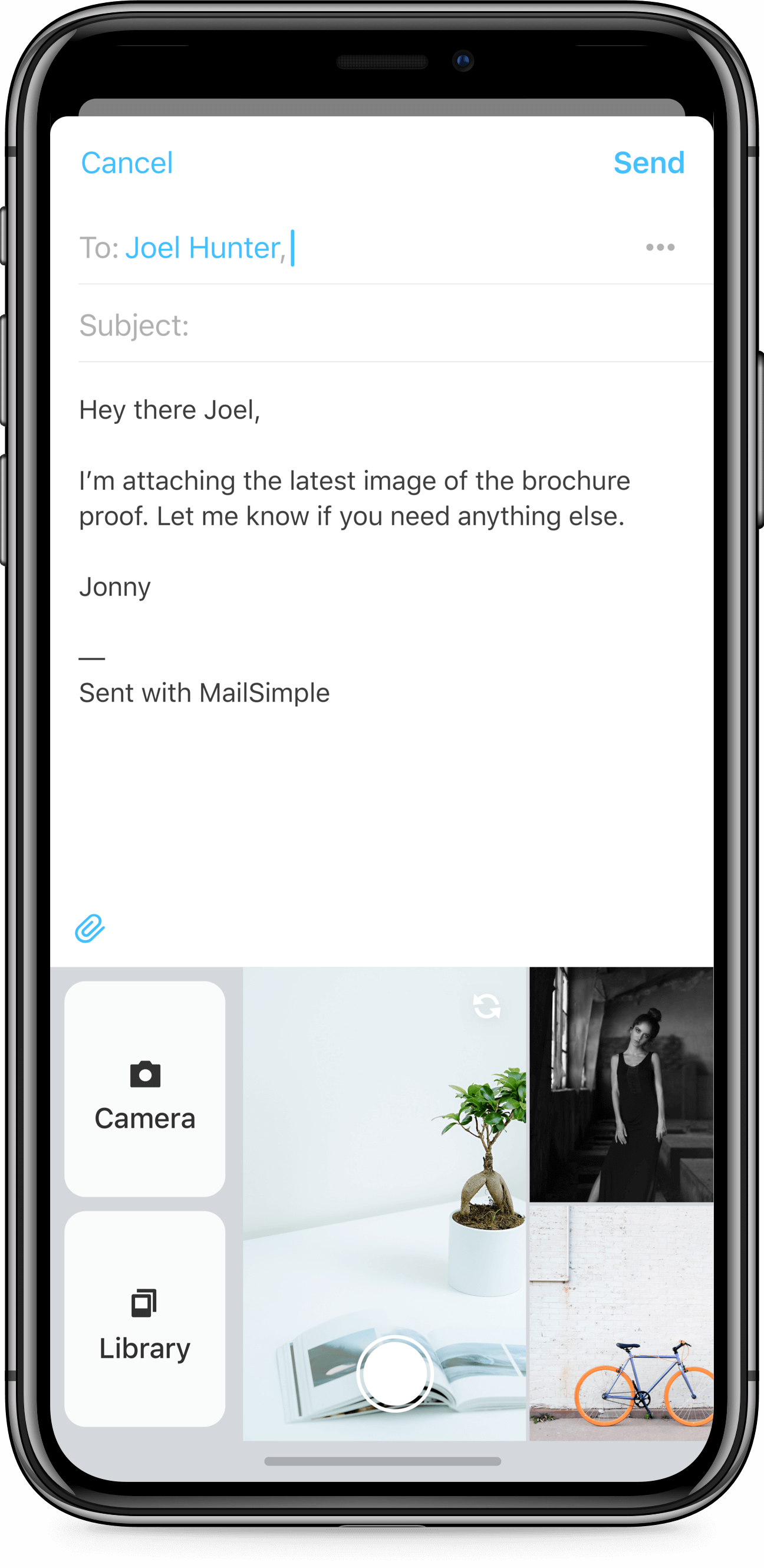 iPhone X app design of Mail Simple email client for iOS. Email composition with custom photo attachment keyboard