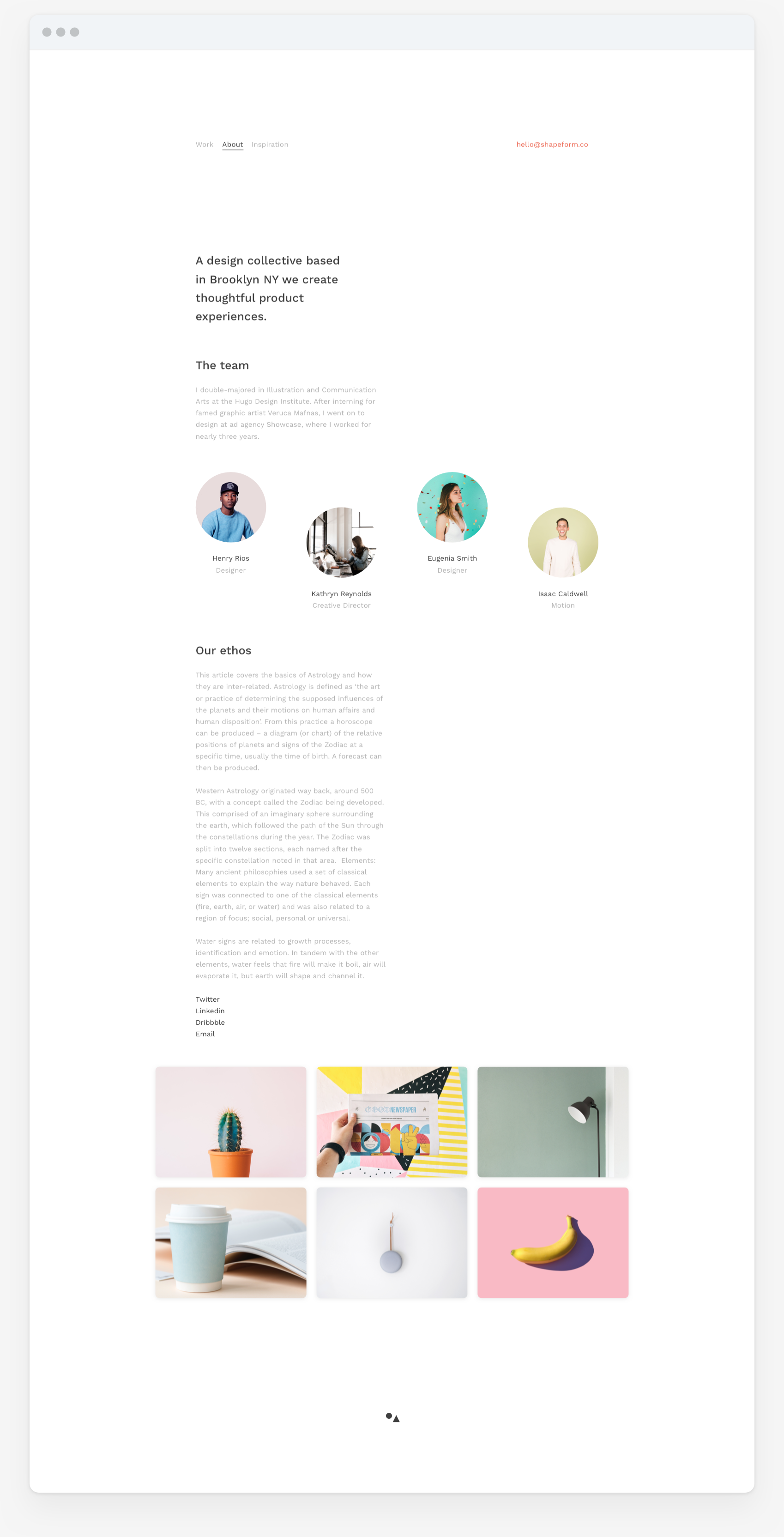 Shapeform Theme. website design of theme for designers, photographers and content creators. Team or studio about page.