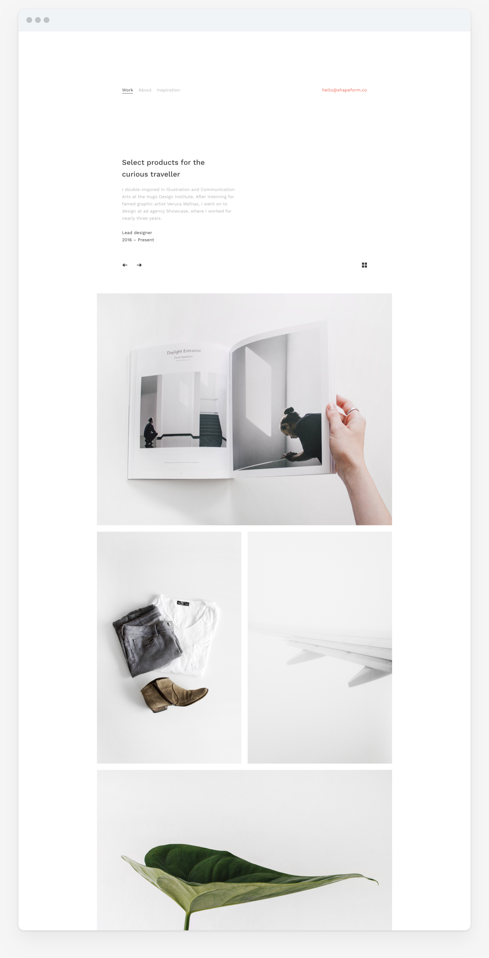 Shapeform Theme. website design of theme for designers, photographers and content creators. Project case study page.