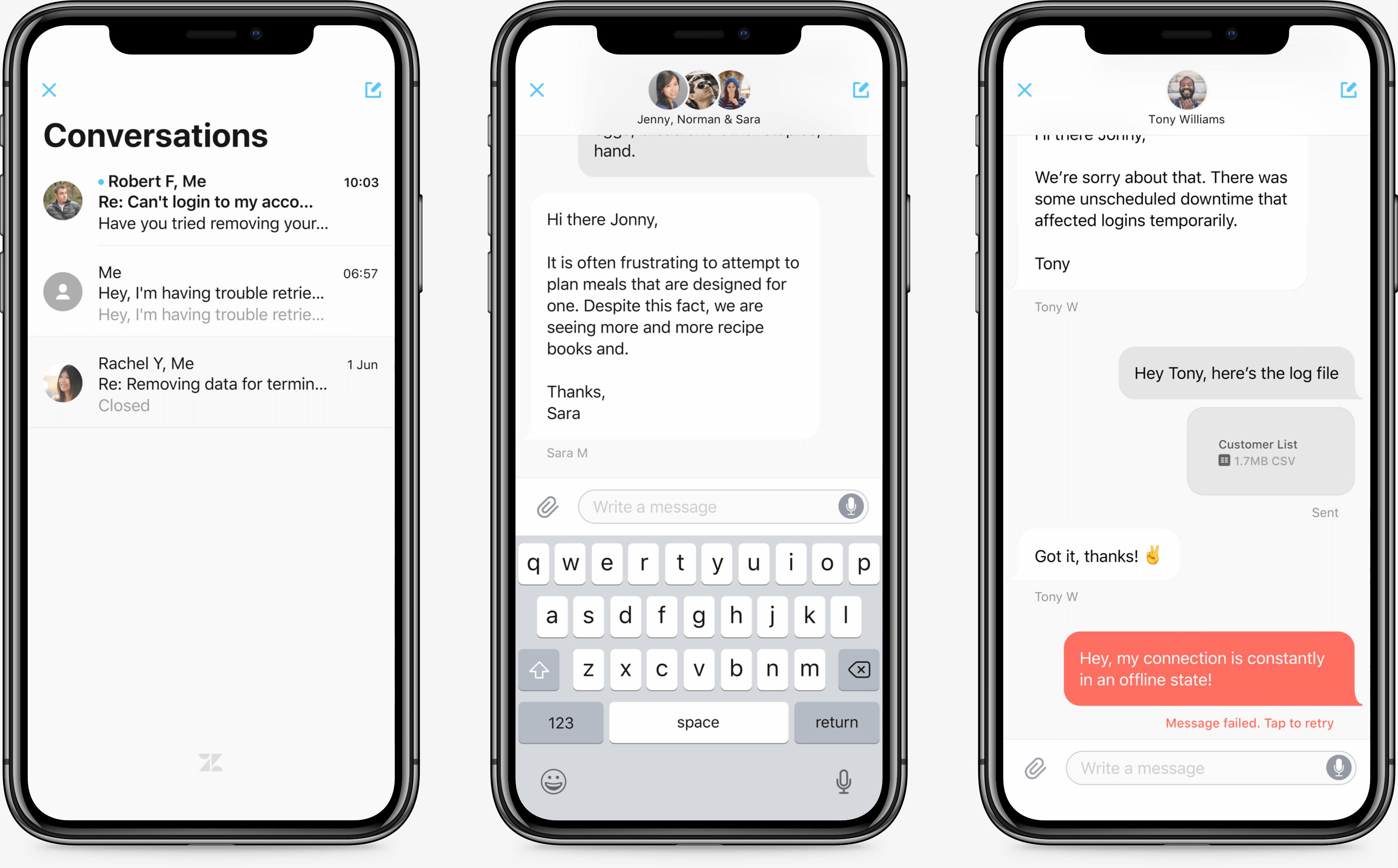 iPhone screens of Zendesk SDK