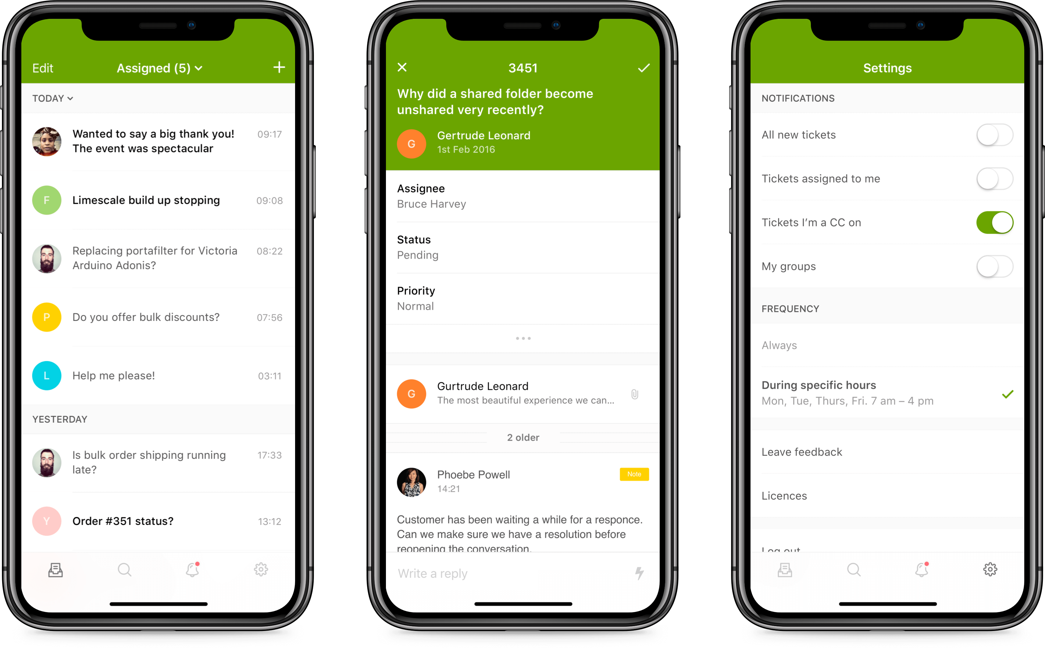 iPhone screens of Zendesk Support mobile app design