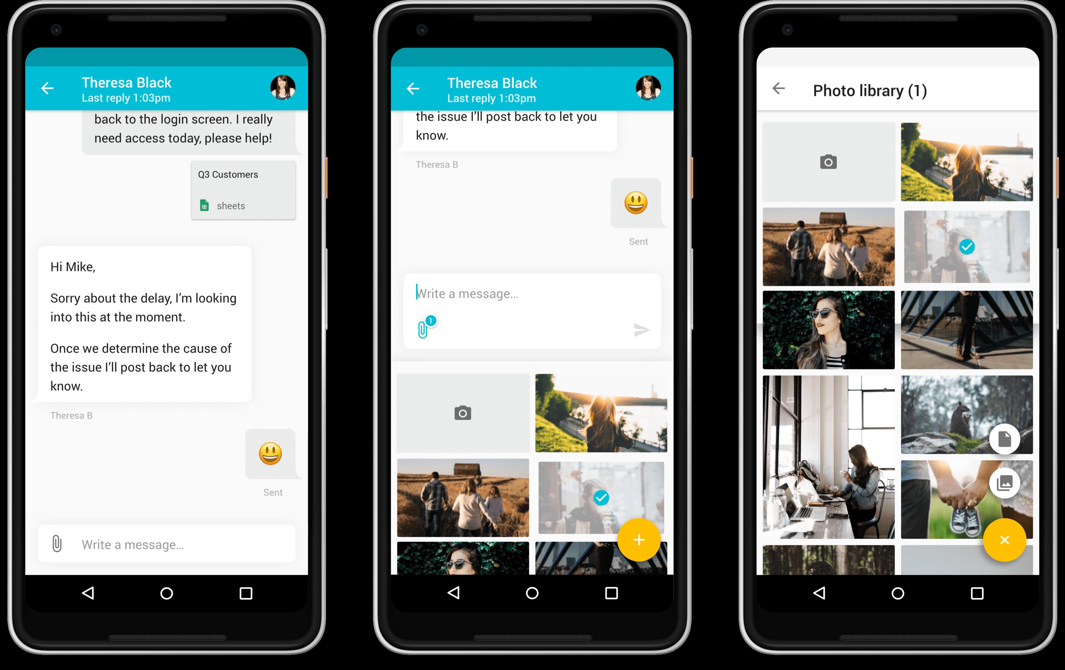 Android screens of Zendesk SDK design