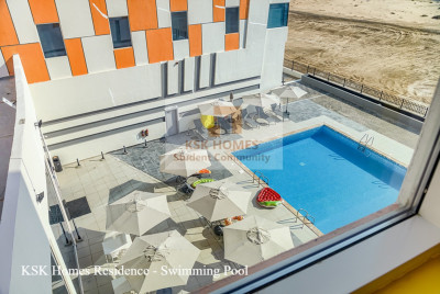 Student accommodation pool at uninestudents.ae in Dubai