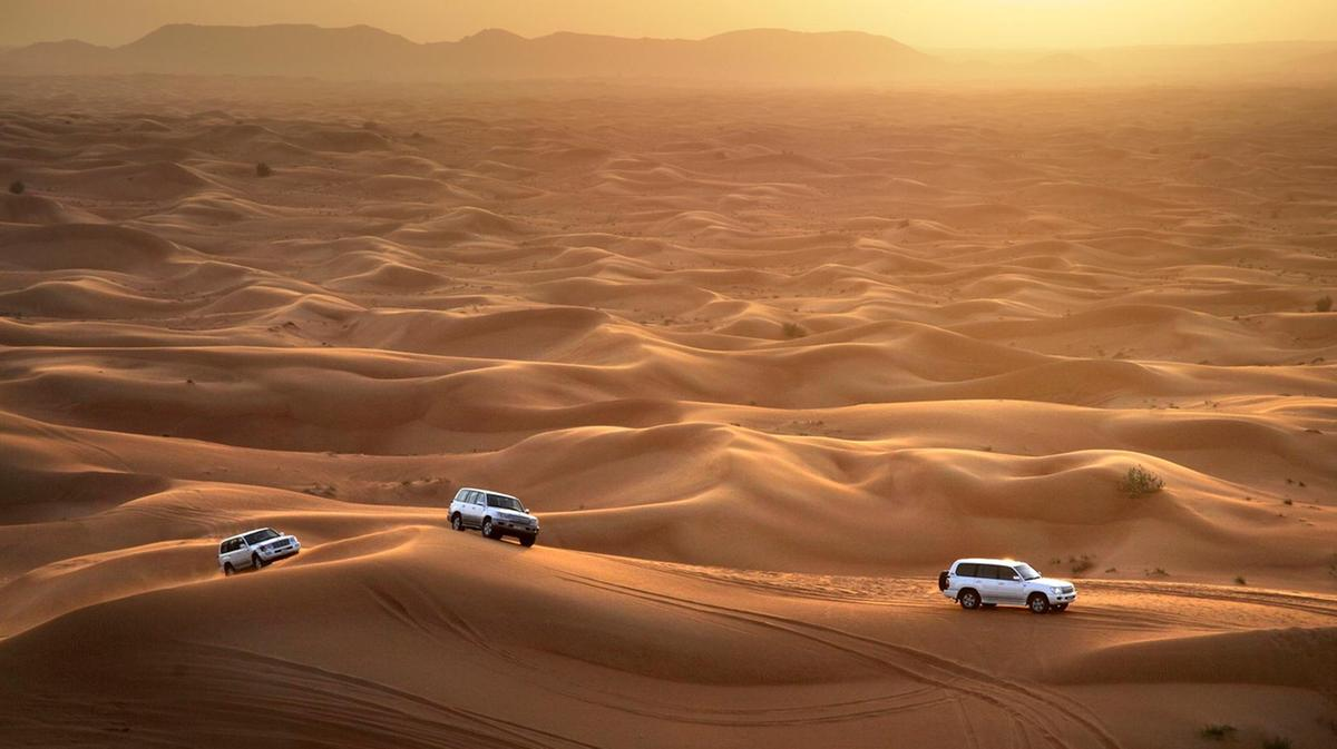 Students off roading in Dubai