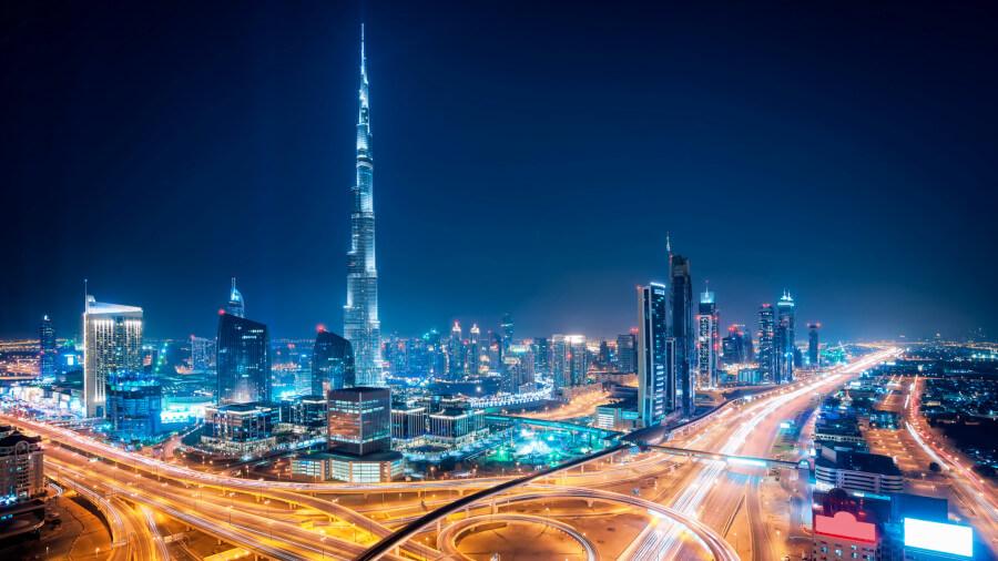 Night time view of Burj Khalifa in Dubai.