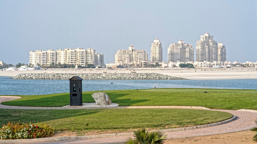 View of Ras Al Khaimah beach and building
