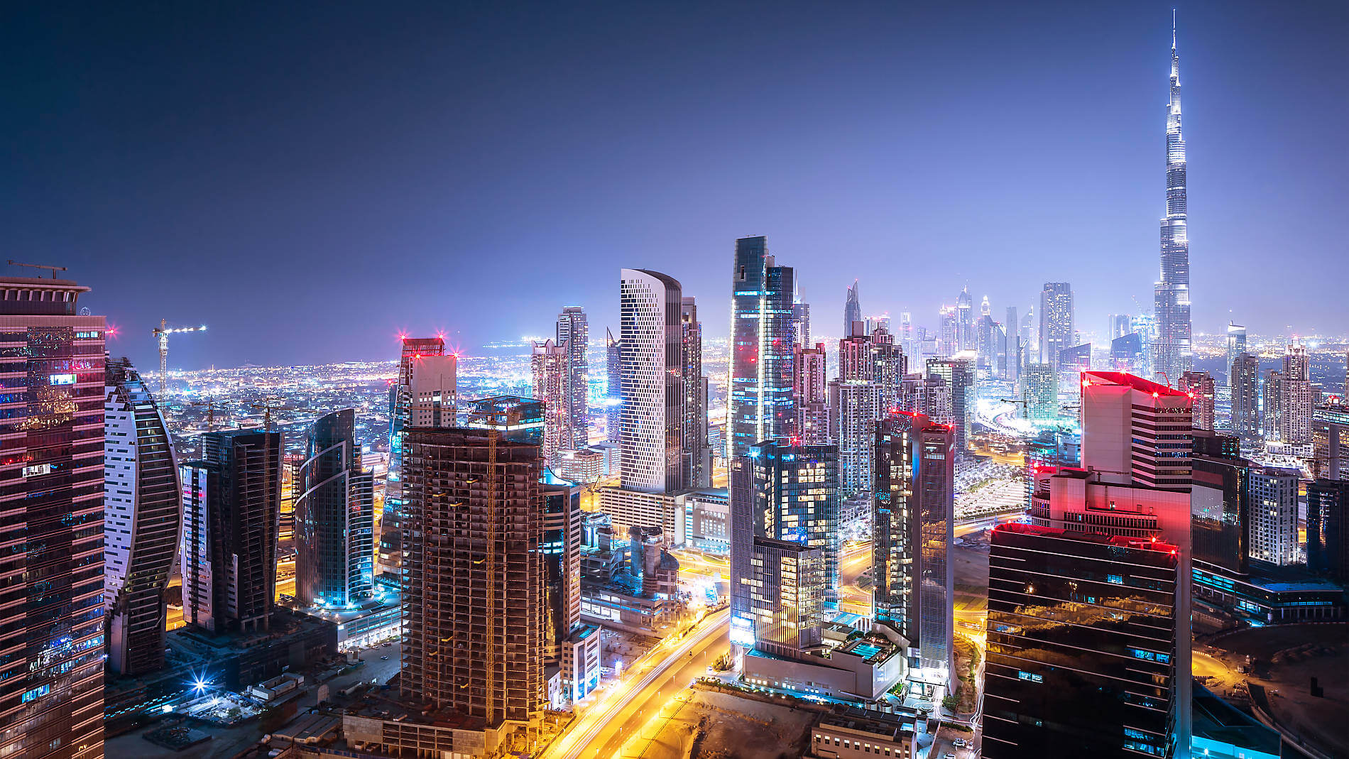 View of Dubai city at night