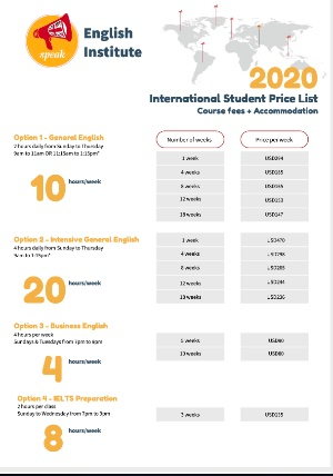 Study English Abroad price list