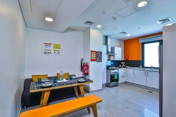 Kitchen area in student accommodation residence in dubai