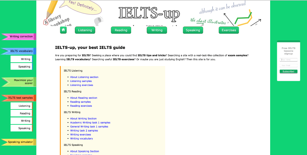 Screenshot website homepage of IELTS-Up