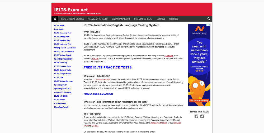 Screenshot of website homepage of IELTS-exam.net