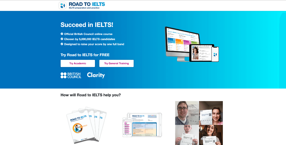 Screenshot of website homepage of roadtoielts.com
