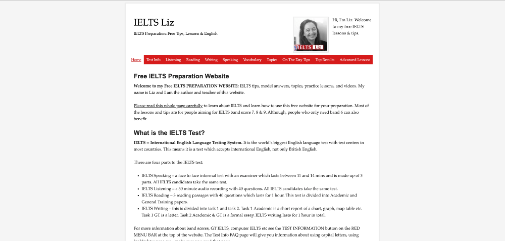 Screenshot of website homepage of ieltsliz.com