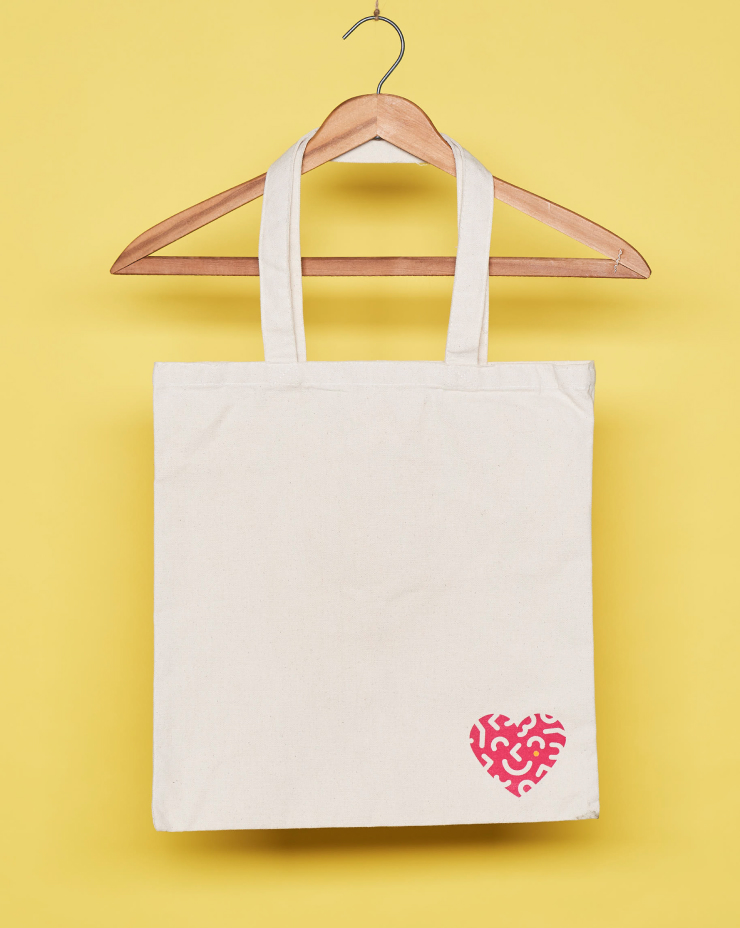 Tote bag branded with company logo