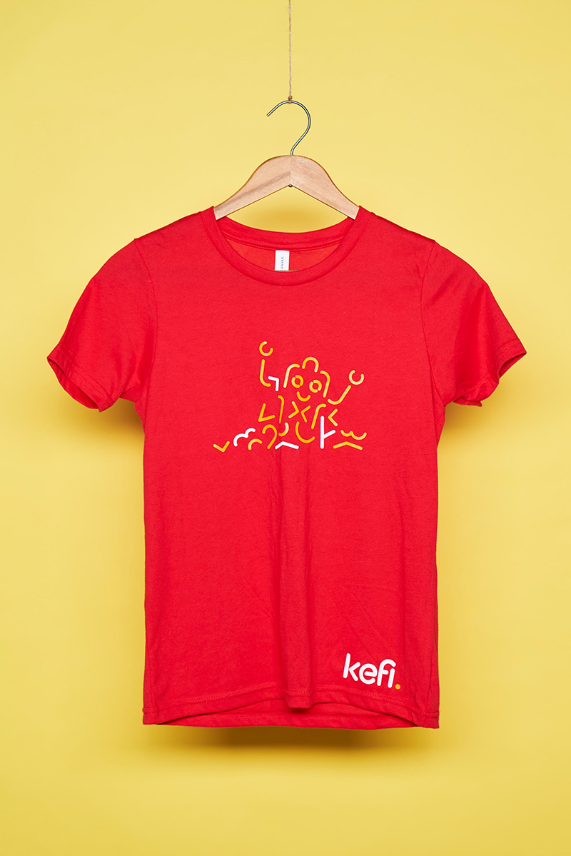 Red t-shirt with branded logo on hanger