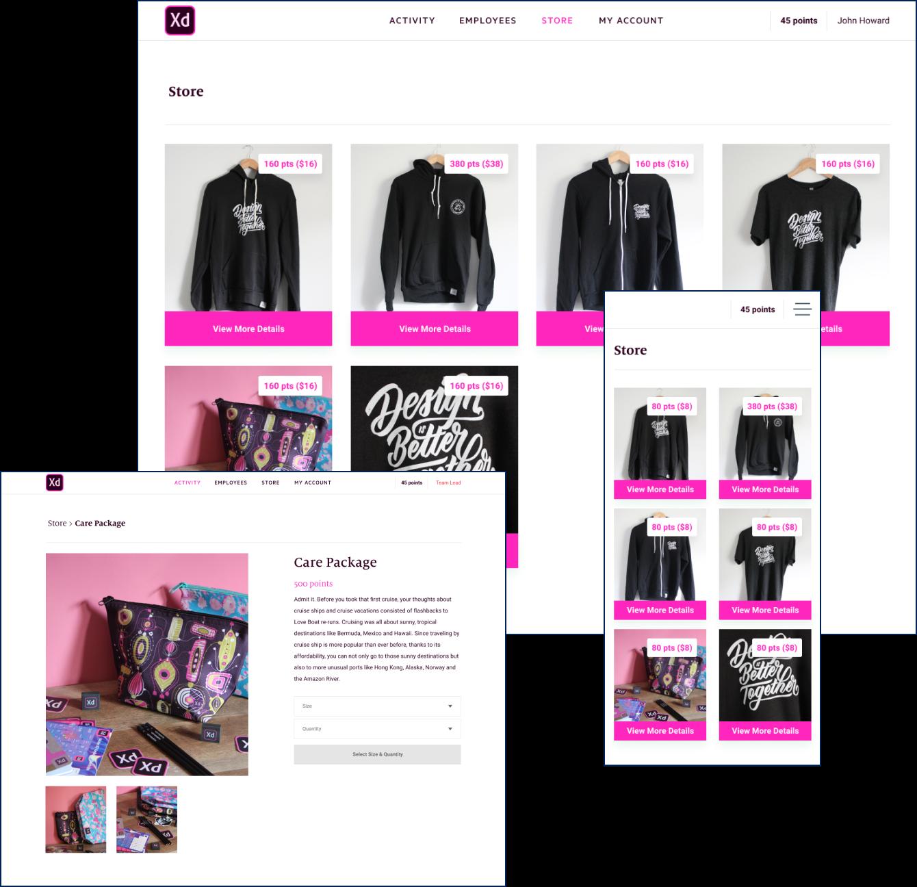 Screenshots of Adobe XD branded swag