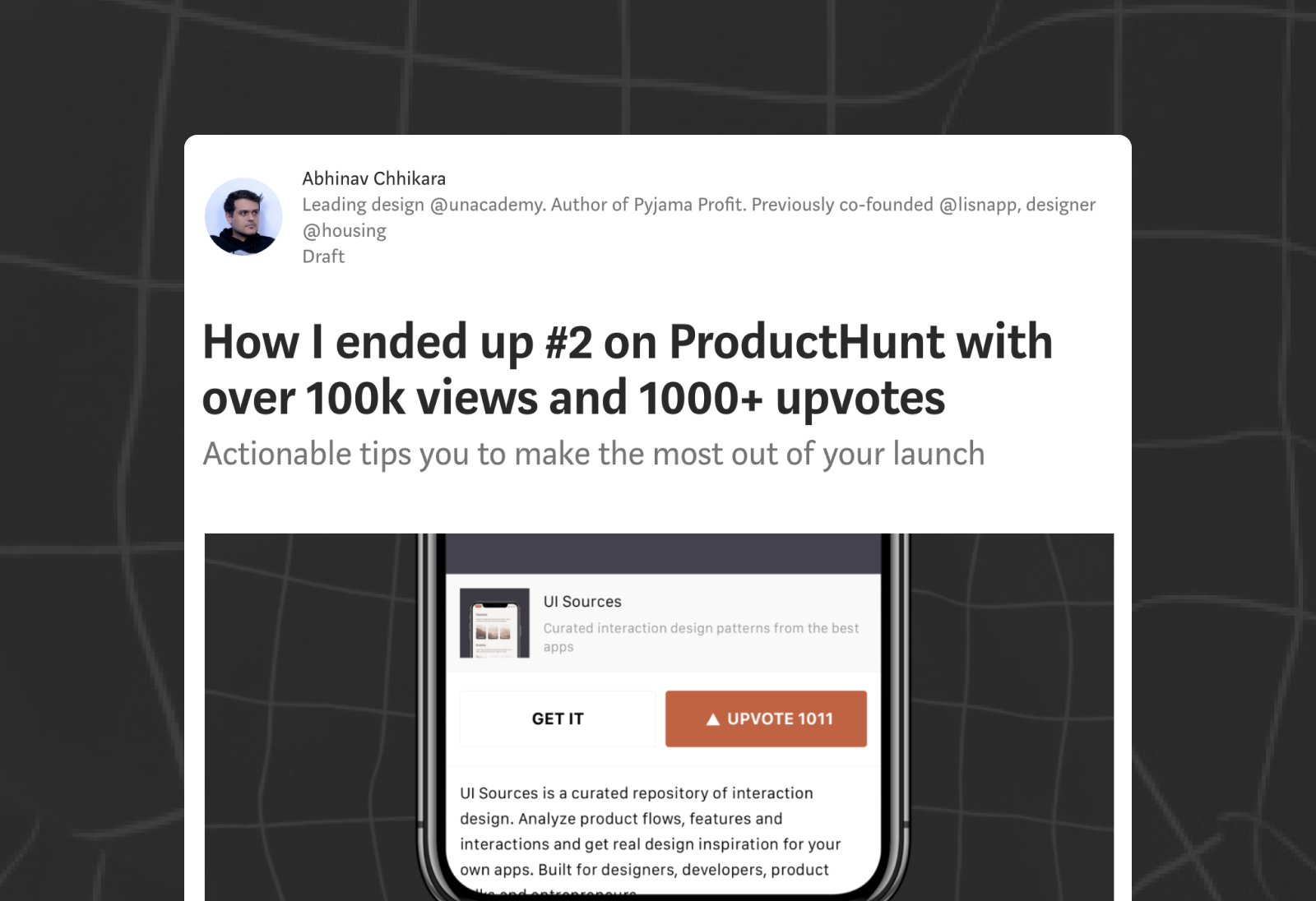 How I ended up #2 on ProductHunt with over 100k views and 1000+