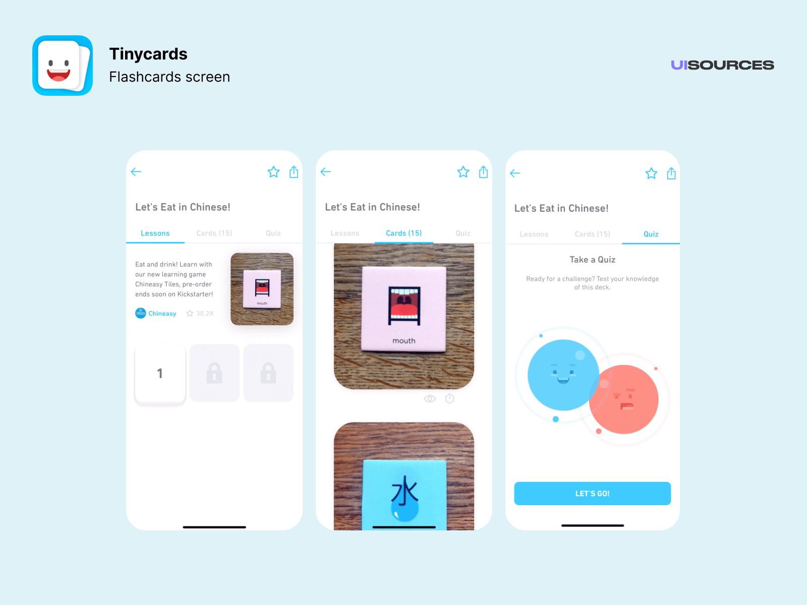 Flashcards screen