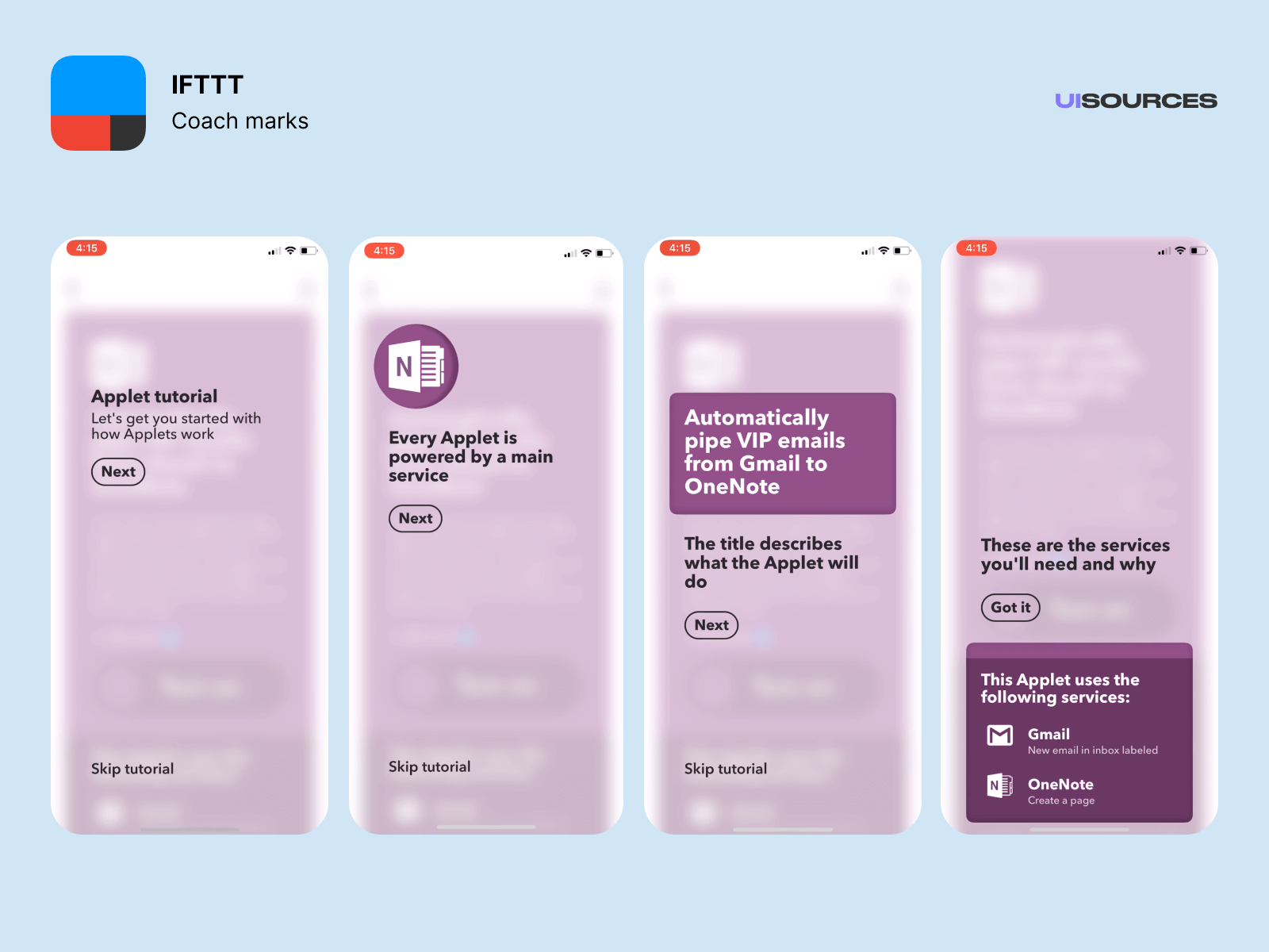 IFTTT - Onboarding and login | UI Sources