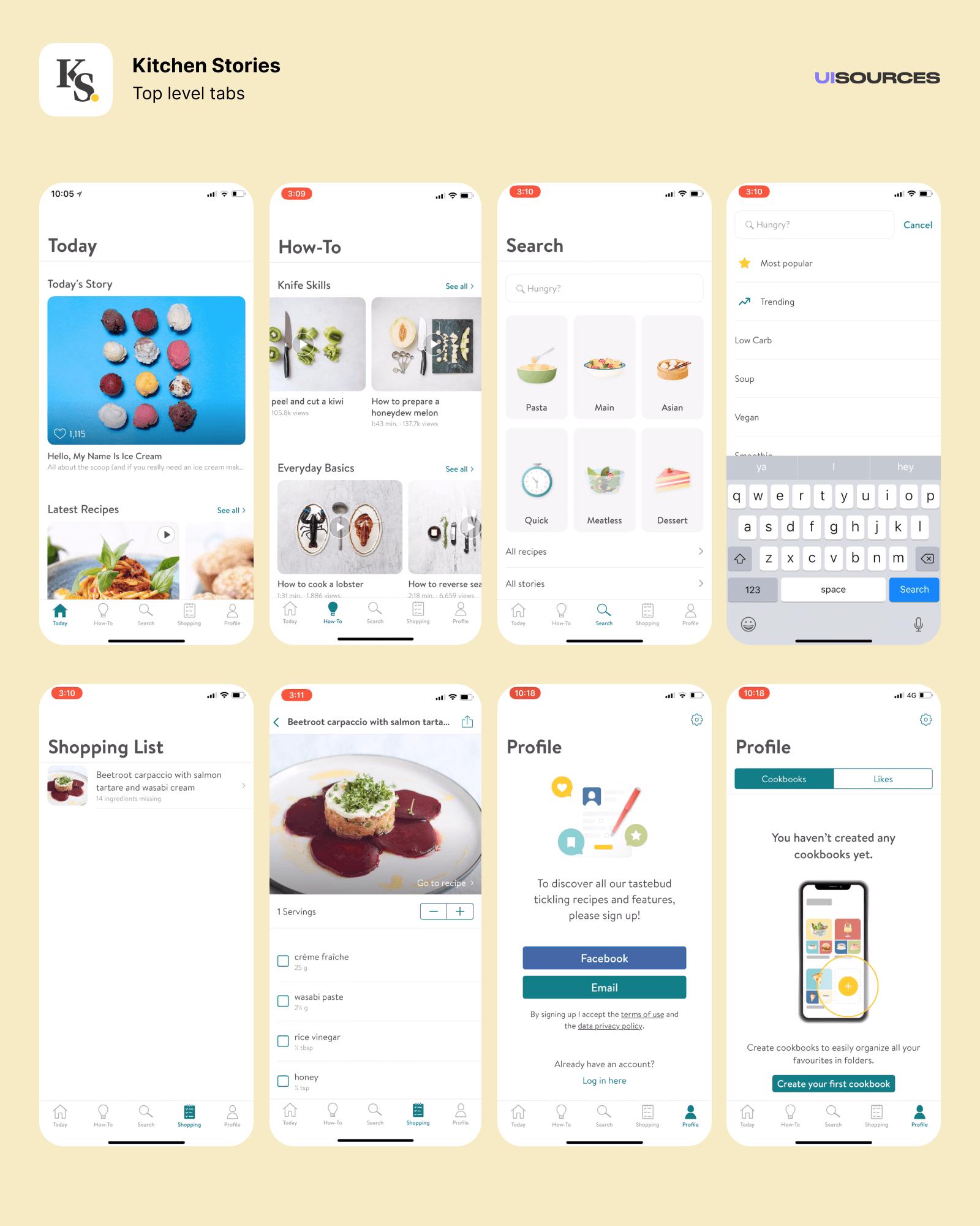 03 kitchen stories top level tabs