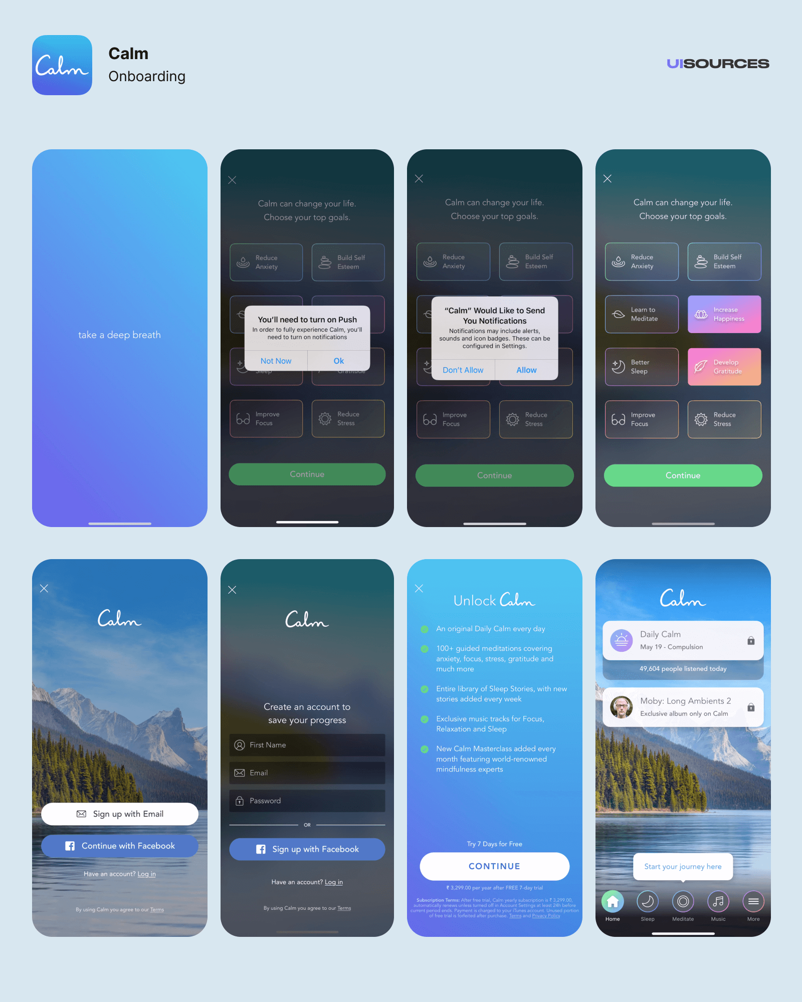 Calm - Onboarding | UI Sources