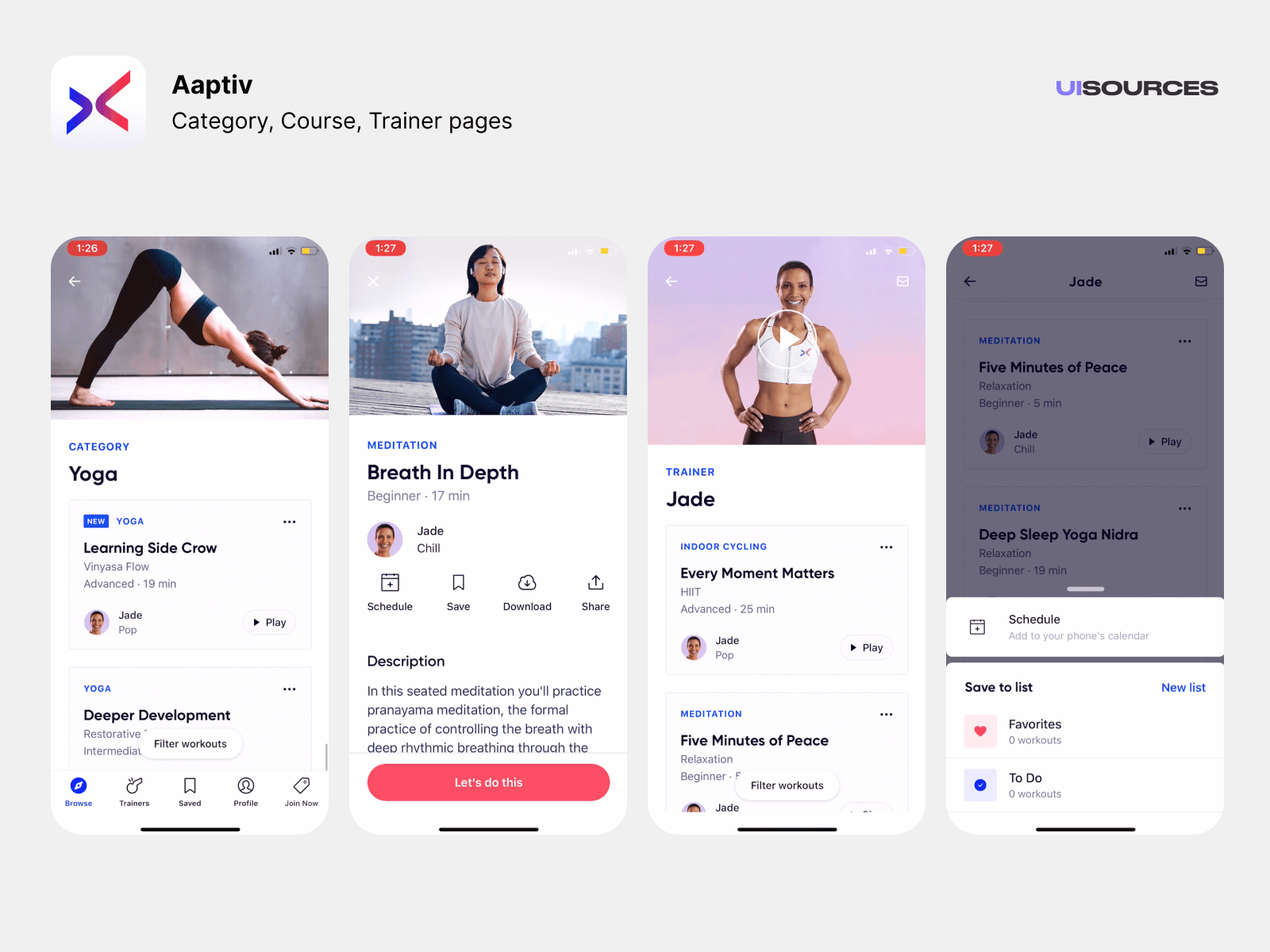 Category, Course, Trainer pages