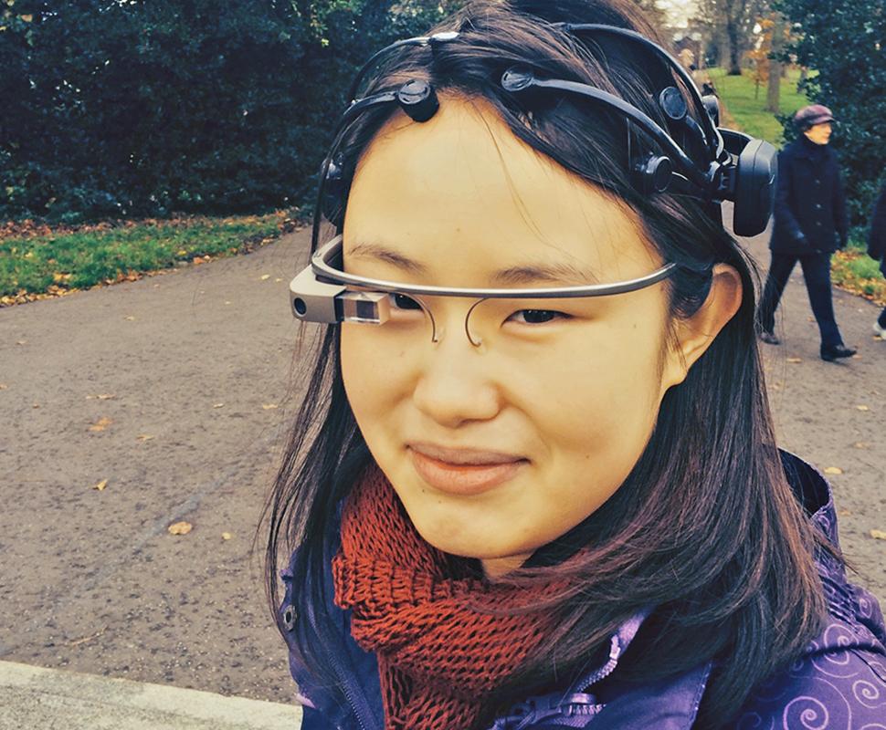 Zimei wearing Google Glass and EEG Headset