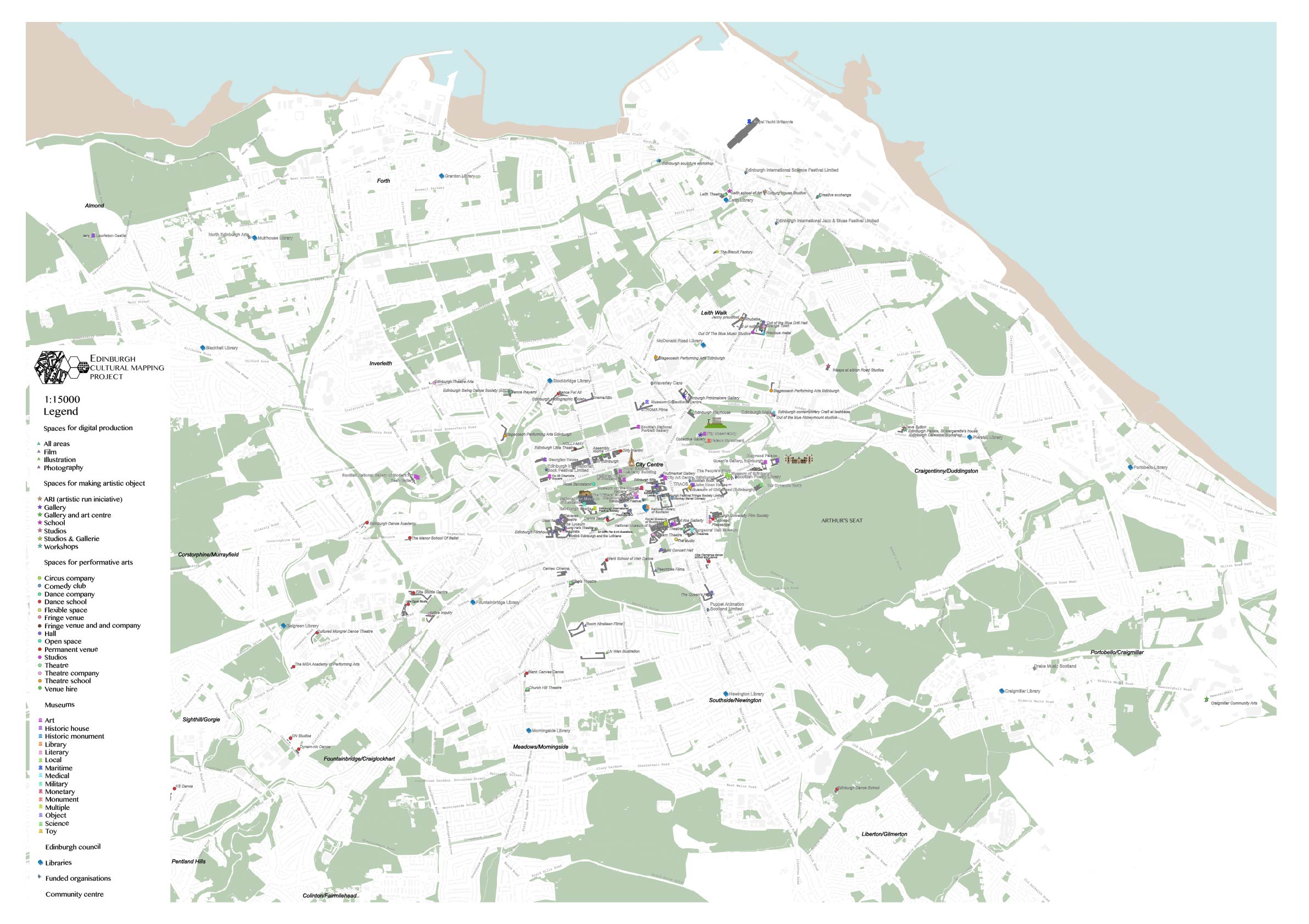 The map of cultural activities in Edinburgh.