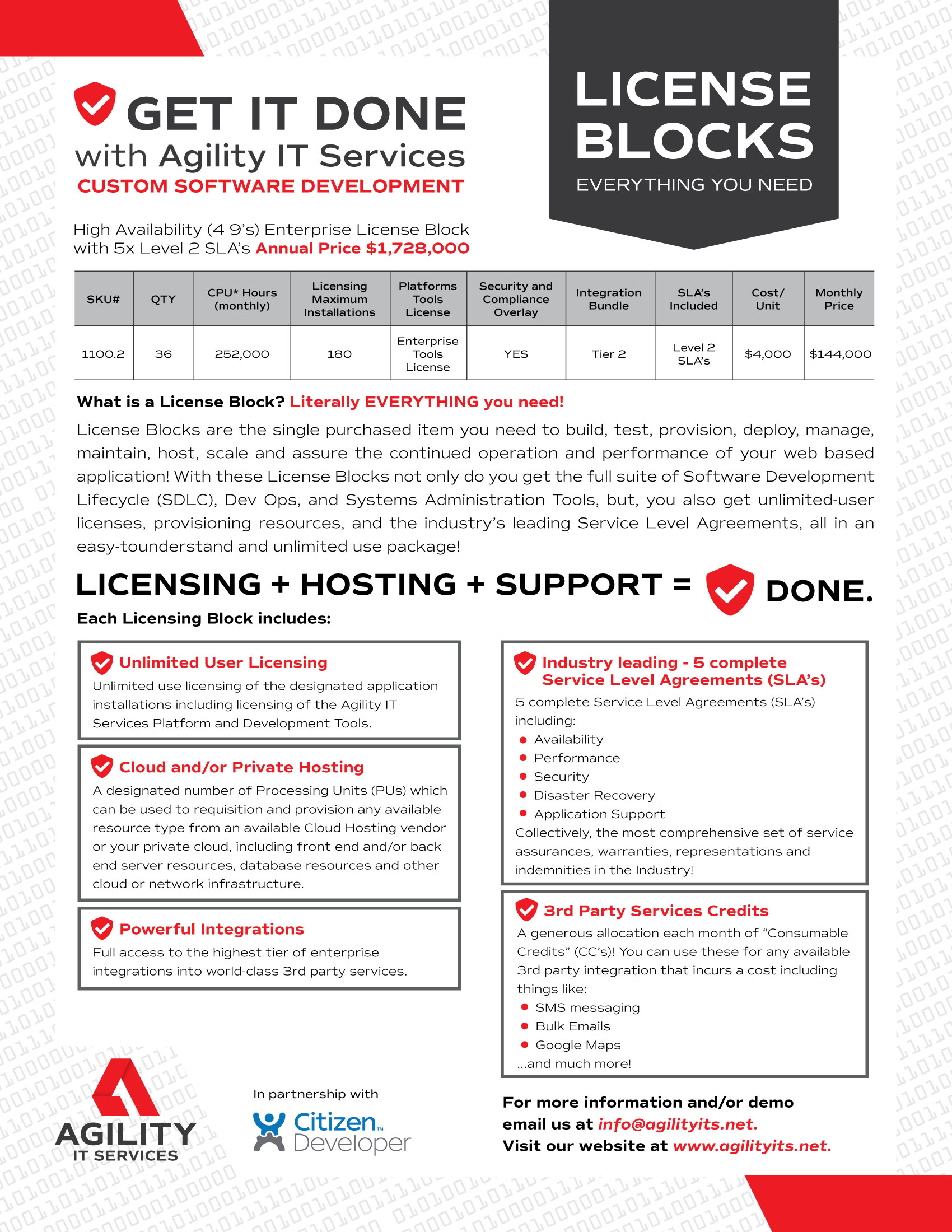 Agility IT Services - License Blocks