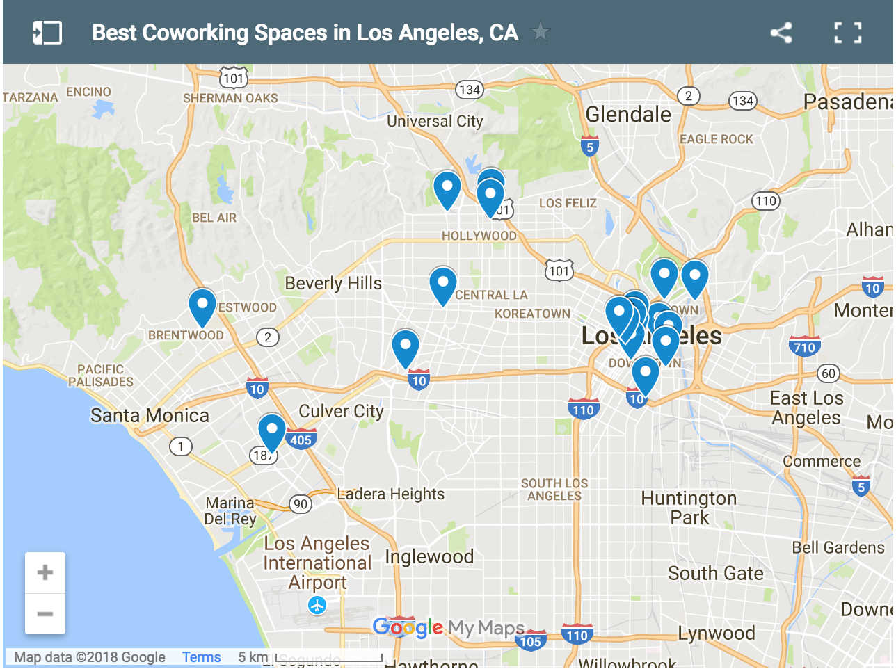 Map of Best Coworking Spaces LA