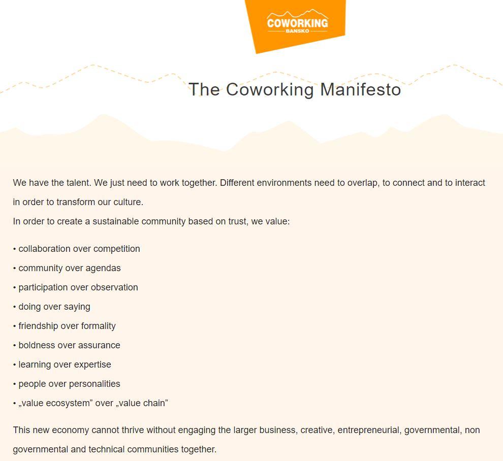 Coworking Manifesto by Bansko