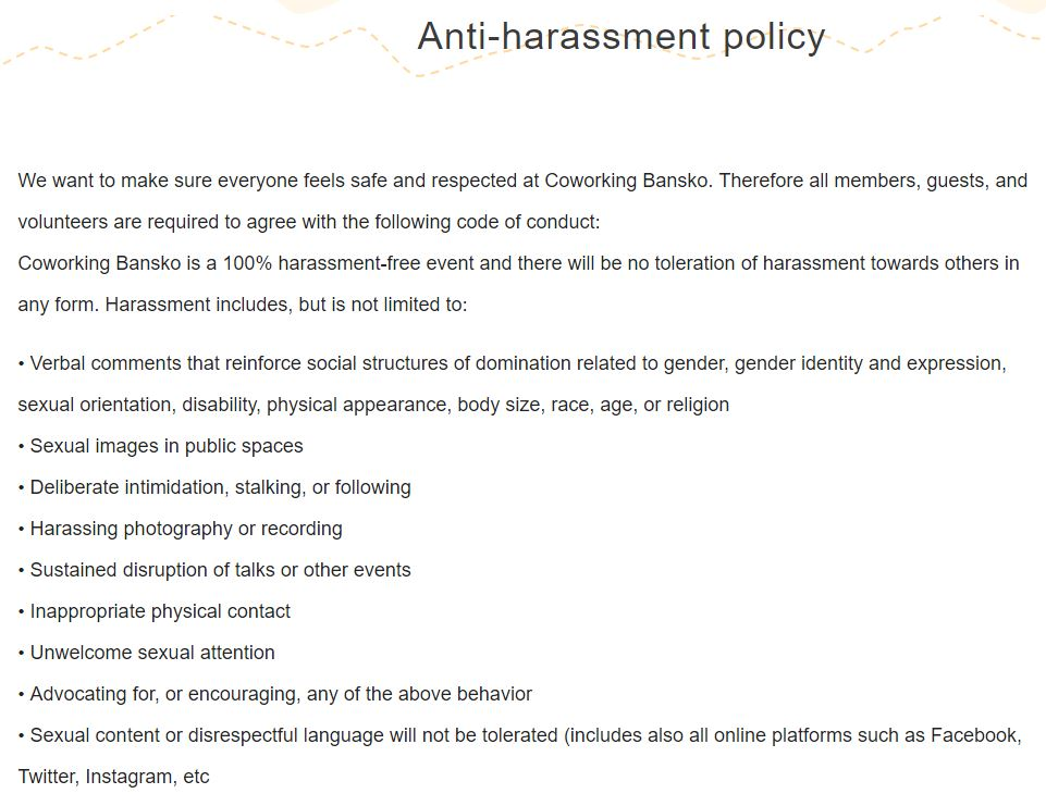 Anti-harassment policy by Bankso